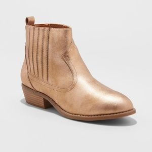 Shoes - Women's Metallic Western Ankle Boots